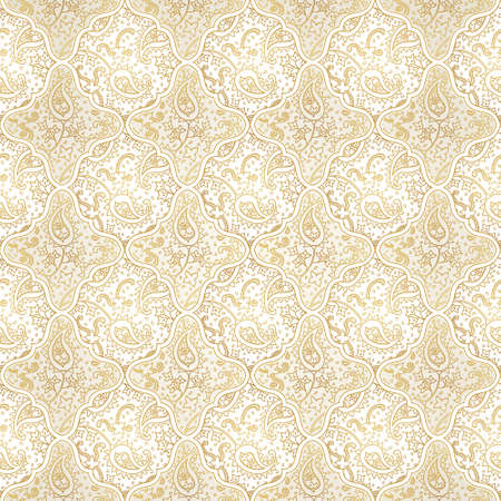 Vector seamless pattern with golden ornament. Vintage paisley element for design in Eastern style. Line art ornamental lace tracery. Ornate floral decor for wallpaper. Endless outline texture.