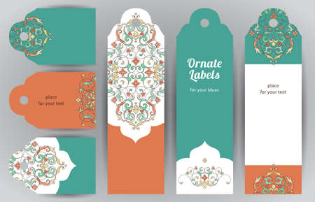 Vector set of ornate labels in oriental style. Bright Eastern floral decor. Template vintage frame for birthday and greeting card, wedding invitation, thank your message. Cards and tags with place for text.