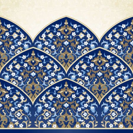 Vector ornate seamless border in Eastern style. Bright element for design. Floral vintage pattern for invitations, birthday and greeting cards, wallpaper. Traditional arabic decor on blue background.