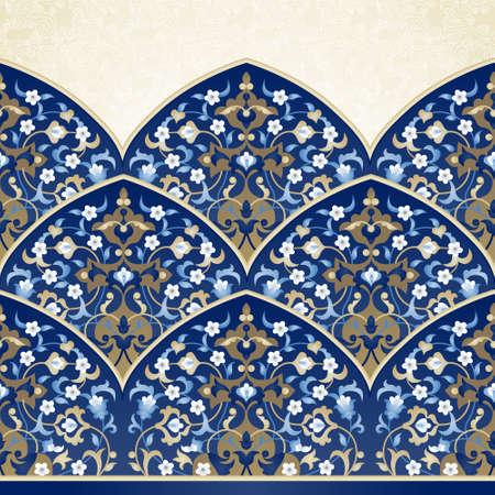 Vector sierlijke naadloze grens in Oost-stijl. Bright element voor ontwerp. Bloemen uitstekend patroon voor uitnodigingen, verjaardag en wenskaarten, behang. Traditionele Arabische decor op een blauwe achtergrond.