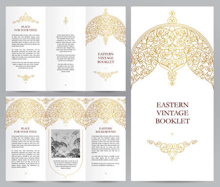 leaflet design: Ornate vintage booklet with line art floral decor. Golden outline decoration in Eastern style. Template frame for brochure, invitation, flyer, page layouts, leaflet, poster. Vector border.