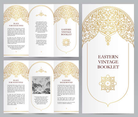 floral vintage: Ornate vintage booklet with line art floral decor. Golden outline decoration in Eastern style. Template frame for brochure, invitation, flyer, page layouts, leaflet, poster. Vector border.