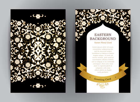 ramo de flores: Ornate vintage cards. Golden floral decor in Eastern style. Template frame for save the date, Ramadan Kareem greeting card, invitation, certificate, leaflet, poster. Vector border with place for text.