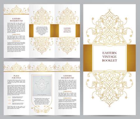 Ornate vintage booklet with line art floral decor. Golden outline decoration in Eastern style. Template frame for brochure, invitation, flyer, page layouts, leaflet, poster. Vector border.