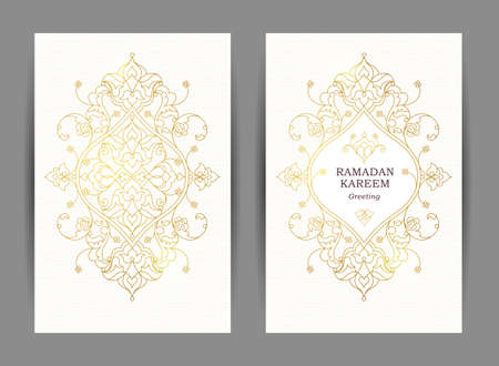 ornate frame: Ornate vintage cards. Outline floral golden decor in Eastern style. Template frame for Ramadan Kareem greeting card, wedding invitation, certificate, leaflet, poster. Vector border with place for text.