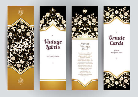 invitation frame: Vector set of ornate vertical cards in oriental style. Golden Eastern floral decor. Template vintage frame for Ramadan Kareem greeting, invitation, thank you message. Labels and tags, place for text. Illustration