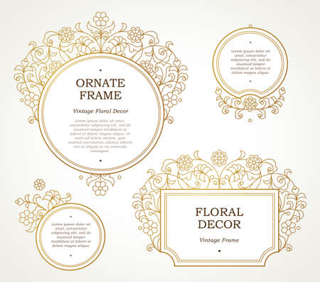 scrollwork: Vector decorative line art frames for design template. Elegant element in Eastern style. Golden outline floral border. Lace decor for invitations, Ramadan Kareem greeting cards, thank you message. Illustration