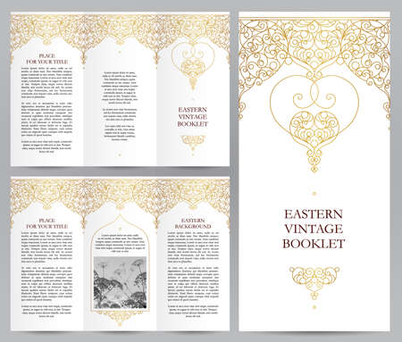 a4: Ornate vintage booklet with line art floral decor. Golden outline decoration in Eastern style. Template frame for brochure, invitation, flyer, page layouts, leaflet, poster. Vector border.