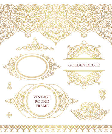 Vector set of line art frames, seamless borders for design template. Eastern style element. Golden outline floral decor. Mono line illustration for invitations, cards, certificate, thank you message. Illustration