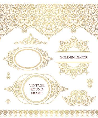 Vector set van lijntekeningen frames, naadloze grenzen voor ontwerp sjabloon. Oost-stijl element. Golden schets bloemen decor. Mono lijn illustratie voor uitnodigingen, kaarten, certificaat, dank u bericht.