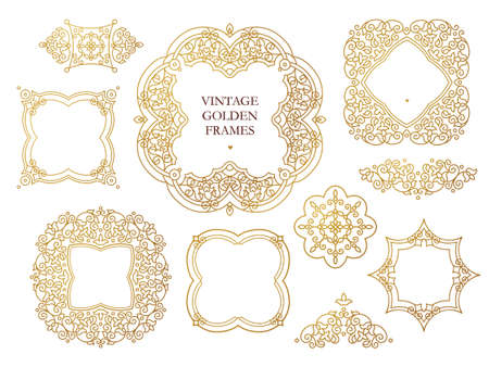 scrollwork: Vector set of line art frames, vignettes for design template. Element in Eastern style. Golden outline floral borders. Mono line decor for invitations, greeting cards, certificate, thank you message. Illustration