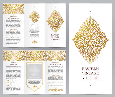 decoration style: Ornate vintage booklet with line art floral decor. Golden outline decoration in Eastern style. Template frame for brochure, invitation, flyer, page layouts, leaflet, poster. Vector border.