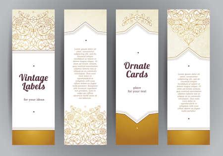 Vector conjunto de tarjetas verticales adornadas en estilo oriental. la decoración floral de oro del Este. Marco del modelo de la vendimia para la tarjeta de felicitación de Ramadan Kareem, gracias mensaje. Las etiquetas y las etiquetas con el lugar de texto. Ilustración de vector