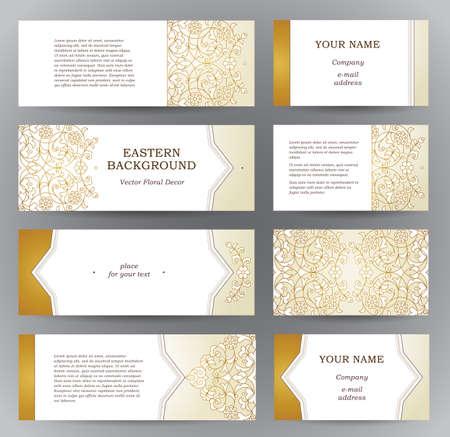 Vector conjunto de tarjetas horizontales adornadas en estilo oriental. esquema de oro decoración floral. Este marco de la vendimia del modelo para el Ramadán Kareem saludo, tarjeta de visita. Las etiquetas y las etiquetas con el lugar de texto.