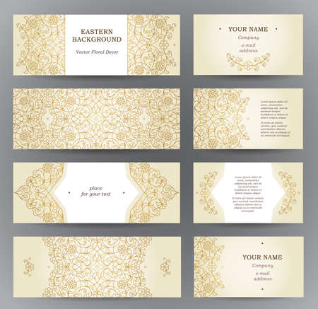 Vector set of ornate horizontal cards in oriental style. Golden outline floral decor. Template vintage Eastern frame for Ramadan Kareem greeting, business card. Labels and tags with place for text.