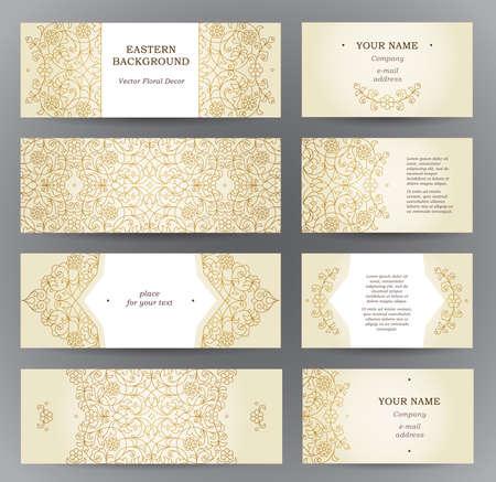 Vector set van sierlijke horizontale kaarten in oosterse stijl. Golden schets bloemen decor. Sjabloon vintage Oost-frame voor Ramadan Kareem groet, visitekaartje. Etiketten en labels met plaats voor tekst.