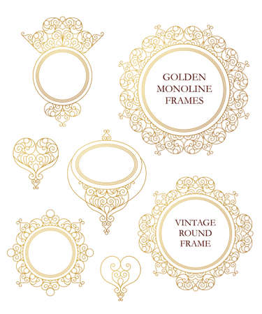 Vector set of line art frames for design template. Element in Eastern style. Golden outline floral borders. Mono line decor for invitations, greeting cards, certificate, thank you message.
