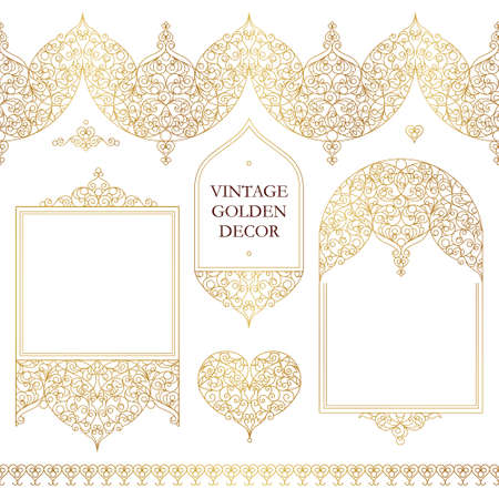 scrollwork: Vector set of line art frames, seamless borders for design template. Eastern style element. Golden outline floral decor. Mono line illustration for invitations, cards, certificate, thank you message. Illustration