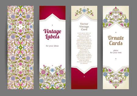 verticales: Vector conjunto de tarjetas verticales adornadas en estilo oriental. Colorida decoración floral oriental. Marco de la vendimia del modelo para la tarjeta de felicitación de Ramadan Kareem, invitación de la boda. Las etiquetas y las etiquetas con el lugar de texto.