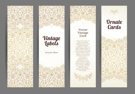 Vector set of ornate vertical cards in oriental style. Golden Eastern floral decor. Template vintage frame for Ramadan Kareem greeting card, thank you message. Labels and tags with place for text. 矢量图像