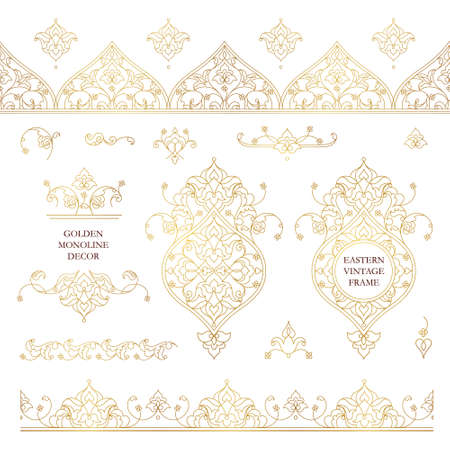 Vector set of line art frames and borders for design template. Elements in Eastern style. Golden outline floral frames. Mono line decor for invitations, greeting cards, certificate, thank you message. Illustration