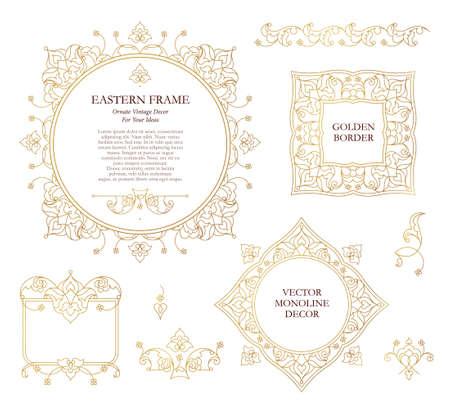 golden frames: Vector set of line art frames for design template. Element in Eastern style. Golden outline floral frames. Mono line decor for invitations, greeting cards, certificate, thank you message.