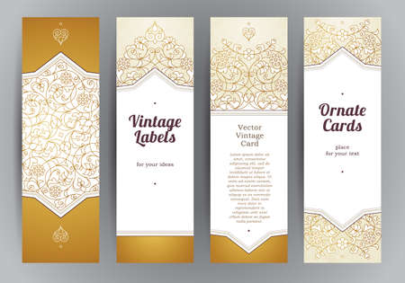 Vector set of ornate vertical cards in oriental style. Golden Eastern floral decor. Template vintage frame for Ramadan Kareem greeting card, thank you message. Labels and tags with place for text. Ilustrace