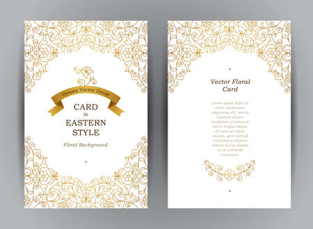 place card: Ornate vintage cards. Outline floral golden decor in Eastern style. Template frame for Ramadan Kareem greeting card, invitation, certificate, leaflet, poster. Vector border with place for text.