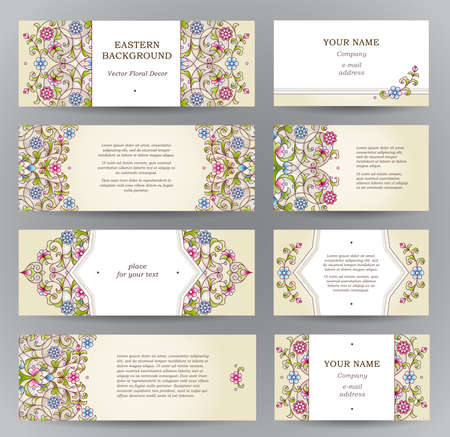 Vector set of ornate horizontal cards in oriental style. Eastern floral decor. Template vintage frame for Ramadan Kareem greeting card, business card. Labels and tags with place for text. Vettoriali