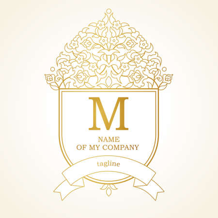Vector template in Victorian style. Ornate element for design. Place for company name, slogan, monogram. Floral outline ornament for business card, boutique brand, certificate, business sign. Illustration