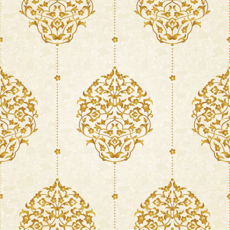 scroll tracery: Vector seamless pattern with floral ornament. Vintage element for design in Eastern style. Lace golden tracery. Ornate floral decor for wallpaper. Traditional arabic decor on scroll work background.