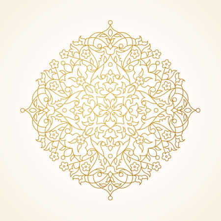 scroll design: Vector vintage pattern in Eastern style. Ornate element for line art design. Ornamental circle pattern for wedding invitations, greeting cards. Traditional golden decor. Mandala. Illustration