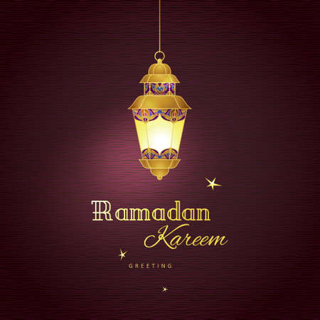 wishing card: Ornate vector vintage lantern for Ramadan wishing. Arabic shining lamps. Golden decor in Eastern style. Islamic background. Template for Ramadan Kareem greeting card, invitation, leaflet, poster.