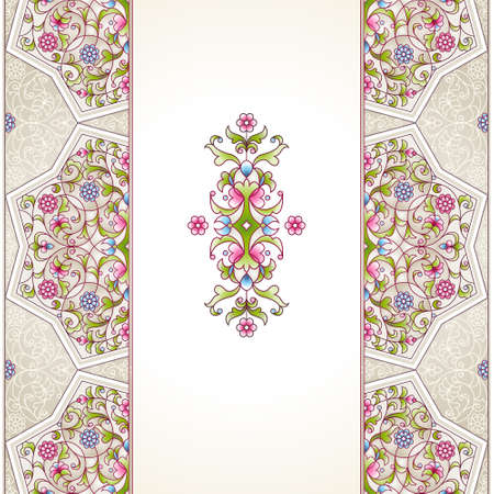 arab spring: Vector seamless border in Eastern style on light background. Ornate element for design. Place for text. Ornament for wedding invitations, birthday and greeting cards. Floral spring oriental decor.