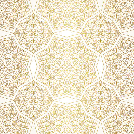 wallpaper floral: Vector seamless pattern with floral ornament. Vintage element for design in Eastern style. Lace golden tracery. Ornate floral decor for wallpaper. Traditional arabic decor on light background.