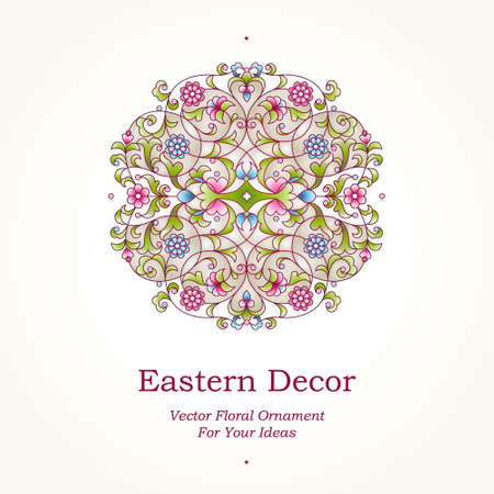ornaments floral: Vector vintage pattern in Eastern style. Ornate floral element for design. Ornamental traditional illustration for invitations, birthday and greeting cards. Pastel elegant mandala. Spring decor.
