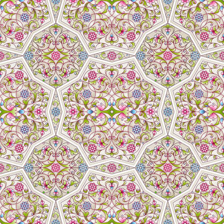 filigree background: Vector seamless pattern with bright floral ornament. Vintage design element in Eastern style. Ornamental lace tracery. Ornate floral decor for wallpaper. Traditional arabic decor on light background.