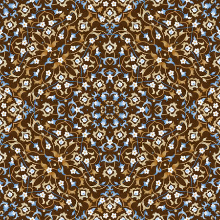 filigree background: Vector seamless pattern with bright floral ornament. Vintage design element in Eastern style. Ornamental lace tracery. Ornate floral decor for wallpaper. Traditional arabic decor on brown background.