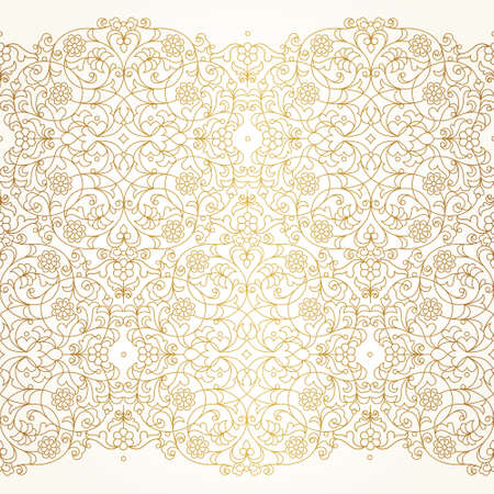 Vector seamless border in Eastern style. Ornate line art element for design. Place for text. Ornament for wedding invitations, birthday and greeting cards. Floral golden oriental decor.