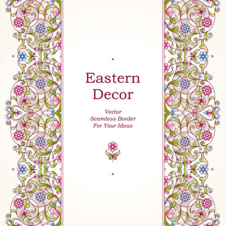 vector ornament: Vector seamless border in Eastern style on light background. Ornate element for design. Place for text. Ornament for wedding invitations, birthday and greeting cards. Floral spring oriental decor.