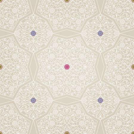 motif floral: Vector seamless pattern blanc ornement floral. Vintage élément de design dans le style oriental. Ornemental tracery dentelle. décor floral Ornement pour le papier peint. décor arabe traditionnel sur fond beige.
