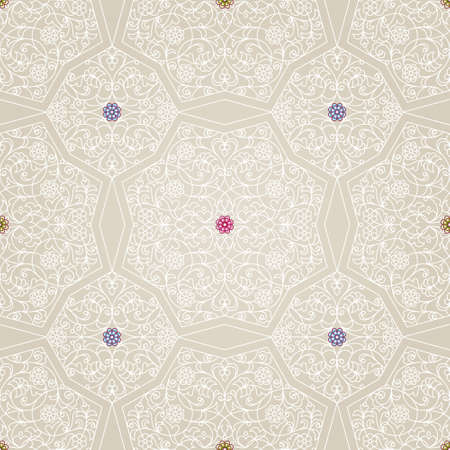 wallpaper floral: Vector seamless pattern with white floral ornament. Vintage design element in Eastern style. Ornamental lace tracery. Ornate floral decor for wallpaper. Traditional arabic decor on beige background.