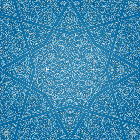 minarets: Vector seamless pattern with outline floral ornament. Vintage design element in Middle Eastern style. Ornamental lace tracery. Ornate wallpaper. Traditional arabic decor on blue background.