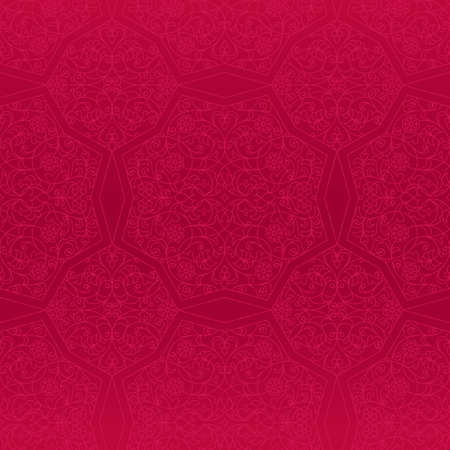 vintage lace: Vector seamless pattern with outline floral ornament. Vintage design element in Eastern style. Ornamental lace tracery. Ornate floral decor for wallpaper. Traditional arabic decor on red background.