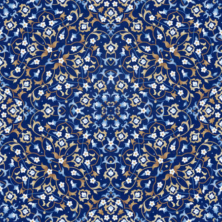 arabic background: Vector seamless pattern with bright floral ornament. Vintage design element in Eastern style. Ornamental lace tracery. Ornate floral decor for wallpaper. Traditional arabic decor on blue background. Illustration