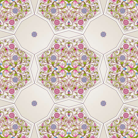 Vector seamless pattern with bright floral ornament. Vintage design element in Eastern style. Ornamental lace tracery. Ornate floral decor for wallpaper. Traditional arabic decor on light background.