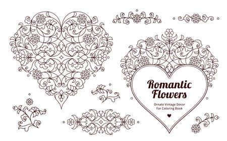 corazones ornamentales florales y viñetas para el diseño de la primavera. ilustración tradicional para las invitaciones, tarjetas de felicitación, marcos, impresión, web. elemento de diseño de San Valentín. Decoración de la vendimia adornado por un libro para colorear, plantilla de vacaciones.