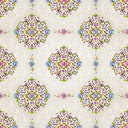 pattern antique: Vector seamless pattern with bright floral ornament. Vintage design element in Eastern style. Ornamental lace tracery. Ornate decor for wallpaper. Traditional arabic decor on beige background.