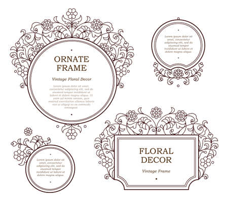 scrollwork: Vector decorative line art frames for design template. Elegant element in Eastern style. Black outline floral border. Lace decor for invitations, greeting cards, certificate, thank you message.