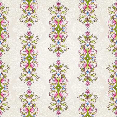 wallpaper floral: Vector seamless pattern with floral ornament. Vintage design element in Eastern style. Ornamental lace tracery. Ornate decor for wallpaper. Floral vignette on beige background.
